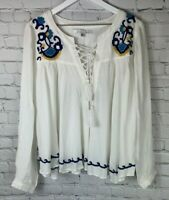 NWT LOVERS + FRIENDS Womens' White Blue LS Embroidered Blouse Shirt Size Medium