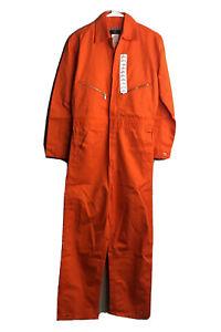 Walls Mens 34 Regular Orange Cotton Full Zip Front Work Jump Suit