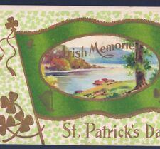 "ST. PATRICK'S DAY FLAG OF IRELAND,""IRISH MEMORIES""SHAMROCKS,LAKE SCENE POSTCARD"