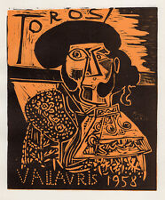 """Pablo PICASSO Abstract Exhibition Poster """"Bulls in Vallauris"""" SIGNED Framed COA"""