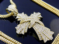 Gold Jesus Piece Cross Religion Pendant Iced Out Hip Hop + Franco Chain Necklace