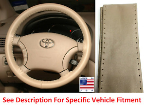 Sand Genuine Leather Steering Wheel Cover Stitch On Wheelskins AXX For Chevy