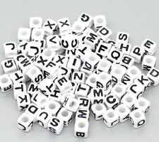 300 Mixed Alphabet /Letter Acrylic Cube Beads Jewelry Making 7x7mm