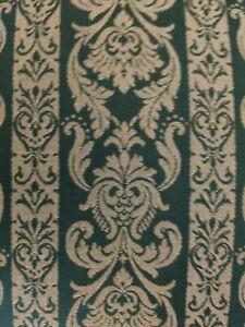 Beautiful English Green Fabric Footstool With Cherry Wood Legs