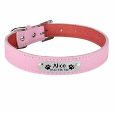 Leather Personalised Dog Collar Custom Cat Pet Name ID Collar Small Medium Large