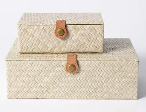 NEW Studio McGee Decorative Small/Large Pandan Zigzag Woven Box Threshold Target