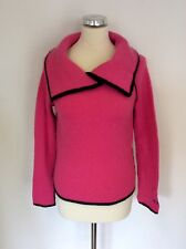 DIESEL PINK & BLACK TRIM COLLARED JUMPER SIZE S