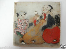 ANTIQUE CHINESE PAINTED 2 SIDES NAT. STONE TILE TUTOR/PUPIL TAOIST?/MOUNTAIN T1