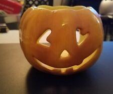 Nwt cute Williams Sonoma Orange Pumpkin Jack 'O Lantern Tea Light Candle Holder