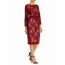 COAST CORALLA MULBERRY BURGUNDY RED NUDE LACE PENCIL DRESS 10 NWOT