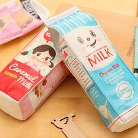 1PC HOTMilk Box Pencil Pen Case Roll Cosmetic Pouch Pocket Holder Makeup Bag LS