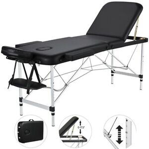 "84""L Massage Table 3 Fold Portable Facial SPA Bed Tattoo Chair Aluminum Black"