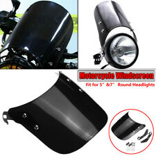Black Windshield Windscreen Motorcycle for YAMAHA SUZUKI 5-7'' Round Headlight