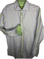 Robert Graham Medium Blue Green Striped Shirt Flip Cuffs