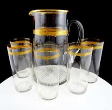 TIFFIN ART GLASS 6 PC GOLD ETCHED BAND 64 OZ JUG & MATCHING TUMBLERS
