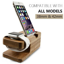 2 in 1 Bamboo Wood Stand Holder For Iphone Apple Watch Base Docking Phone