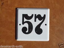57 alte Hausnummer original altes Emailschild DDR Produktion dick emaliert Nr.57