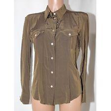 Camicia donna Marella Made italy 42 manica lunga marrone verde cangiante