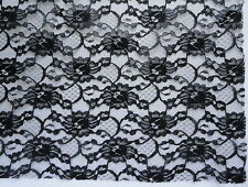 "Black Lace Fine Fabric Polyester Nylon Flat Finish Netting Florals 60"" x 56"""