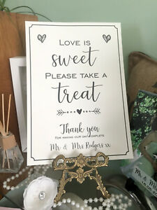 love is sweet Sign A4 Vintage, cream or white. Wedding / Party  A4 treats sweets