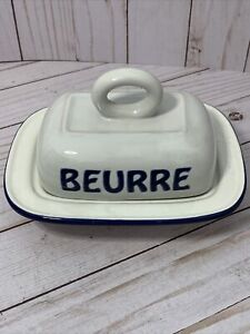 Williams Sonoma French Farmhouse Beurre Covered Butter Dish 2012 Bistro Francais