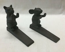 Set of 2 Cast Iron Cat and Mouse Door Wedge