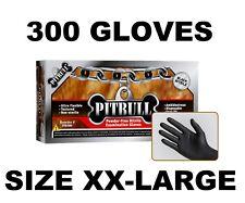 PITBULL BLACK NITRILE GLOVES, 6 MIL, POWDER FREE, PACK OF 300, SIZE XXL XX-LARGE