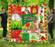 How The Grinch Stole Christmas Quilt Blanket, Fleece Blanket For Christmas