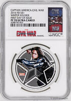 2016 Fiji $1 Marvel's Avengers Winter Soldier 1oz Silver Proof Coin NGC PF70-FDI