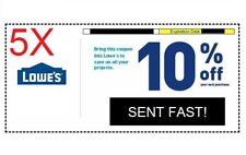 Five (5x) 10% Off Lowes Coupon - Information sent via US Mail - Expire 09/30/18