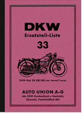 DKW SB 200 300 ccm Normal Luxus Ersatzteilliste Ersatzteilkatalog Teilekatalog