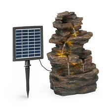 Fuente solar jardin 2,8W poliresina cascada 4 niveles LED imitación piedra