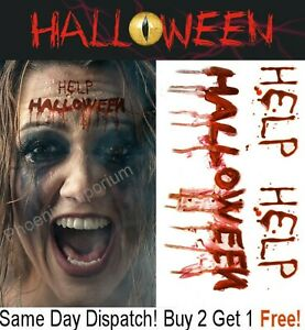 Halloween Zombie Scars Tattoos Fake Stitches Scab Wound FX Face Make Up Kit UK