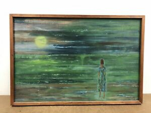 Vintage OIL PAINTING framed wall art mid century modern signed abstract green 50