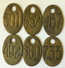 Vintage Brass COW TAGS   # 301, 352, 467,  492,680,733,  Double sided