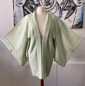 Vintage KIMONO, Seidenrobe, Japanische Jacke, Haori, lindgrün, handgenäht