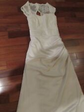 LADIES IVORY LACE SHOULDERS LONG EVENING GOWN SIZE 12 MINT COND