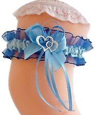 Strumpfband Braut dunkelblau blau mit Schleife Herzchen Silbernaht NEU EU