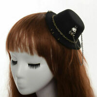 Gothic Steampunk Mini Top Hat With Skull Cross Hair Clip Hair Accessories