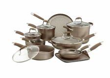 Analon Advanced Umber 14 Piece Non Stick Hard Anodized Cookware Set New $399!