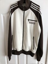 Mens ADIDAS RETRO Sports Tracksuit Top Jacket UK Size L [Large] Cream/Brown