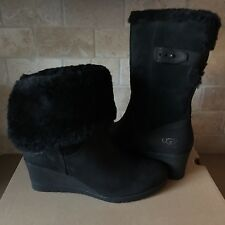 UGG Edelina Black Waterproof Suede Cuff Wedge Short Boots Size 12 Womens