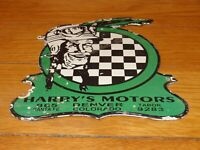 "VINTAGE HARRY'S INDIAN MOTORCYCLE MOTORS 9"" PORCELAIN METAL GASOLINE CYCLE SIGN!"