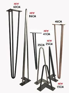 """Hairpin Table Legs (PRICE PER LEG) Size  4-40"""" Choice of Height, Style & Colours"""