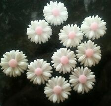 20 x White & Pink Daisy Flower Cabochon 13mm Resin