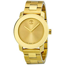 New Movado Bold Gold-Tone Stainless Steel 38mm Unisex Watch 3600085