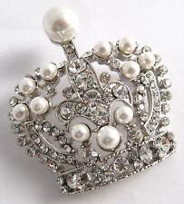 Plata Cristal y Perla Corona Real Broche / Día De La Madre