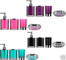 4 piece Bathroom Accessories Set Plastic Body Chrome Effect Soap Dish Dispenser