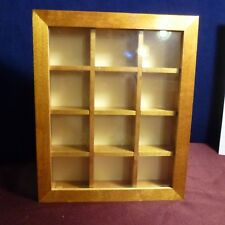 Small WOOD Wall Curio Cabinet Display Case Shadow Box for figurines or thimbles