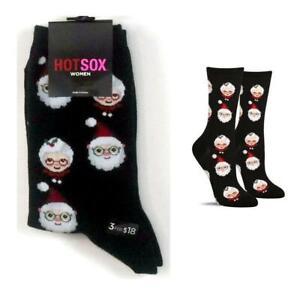Womans Hot Sox Santa & Mrs. Claus Crew Socks Black 9-11 New
